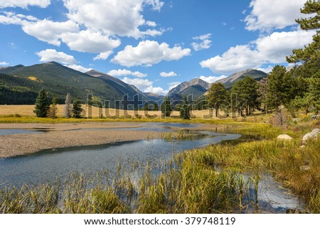 Autumn at Rocky Mountain National Park - An autumn view of Sheep Lakes, at head of Old Fall River Road, in Rocky Mountain National Park, Estes Park, Colorado, USA.  - stock photo
