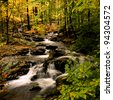 Autumn at small waterfall in Harriman State Park, in upstate NY - stock photo