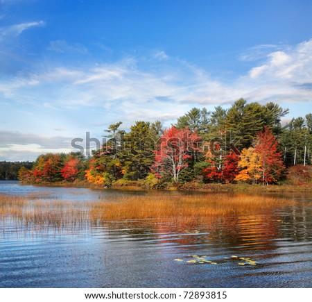 Autumn At Somes Pond, Mount Desert Island, Acadia National Park, Maine, USA - stock photo