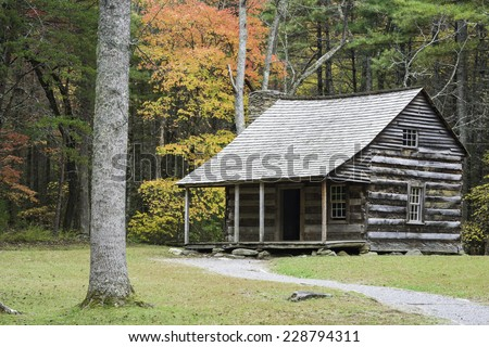 Autumn at the Carter Shields Cabin in Cades Cove, Great Smoky Mountains National Park, Tennessee. - stock photo