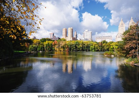Autumn at The Lake in Central Park, New York - stock photo