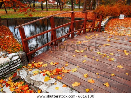 Autumn at the park in November - stock photo