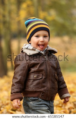 Autumn baby boy - 2 years old boy in a park - stock photo