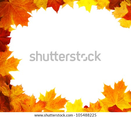 Autumn backdrop - frame composed of colorful autumn leaves over white - stock photo