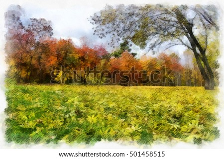 autumn background beautiful colorful forest landscape nature park with trees in watercolor artistic style pattern