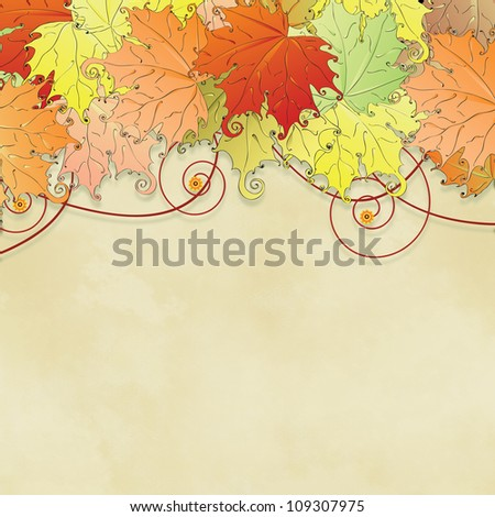 Autumn  background: bright red and yellow leaves.