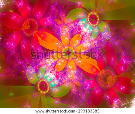 Autumn background. Bright, showy and pay attention. It contains floral ornament. In some places there is blurring, small grain.