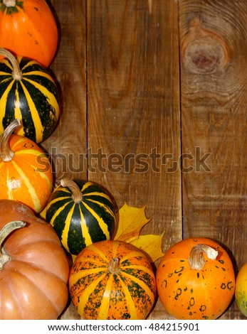 Autumn background corner frame with pumpkins and leaves