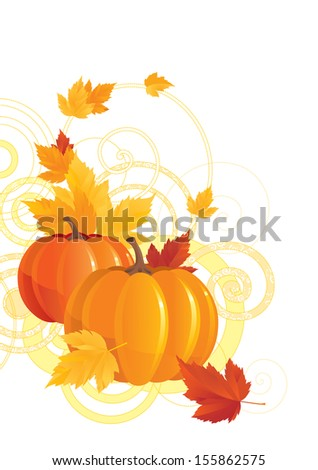 Autumn background. Illustration of pumpkins and leaves on abstract background  - stock photo
