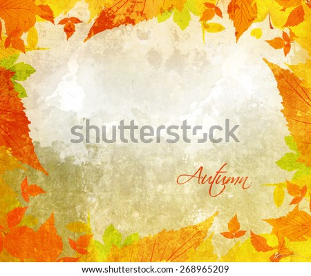 autumn background with acorns and leaves - stock photo