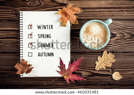 autumn background with coffee cup