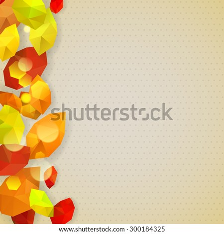 Autumn background with dots and leaves in low-poly triangular style - stock photo