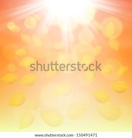 Autumn background with fall of the leaves and the sun. Raster version. - stock photo