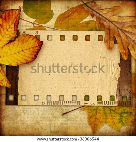 autumn background with film  frame and leaves - stock photo