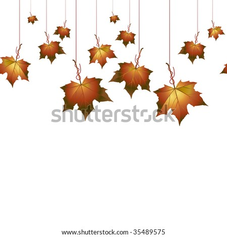Autumn background with hanging leafs.