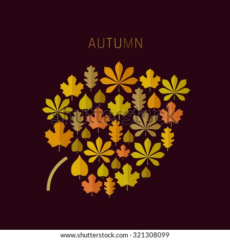 Autumn background with icons of leaves in flat style. Raster version. - stock photo