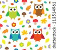 Autumn background with owls.Seamless pattern - raster version - stock vector