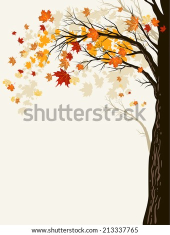 Autumn background with trees. Place for text. Raster version. - stock photo