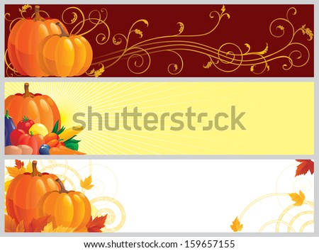 Autumn banners. Three color banners with pumpkins, vegetables and leaves on abstract background for web design - stock photo