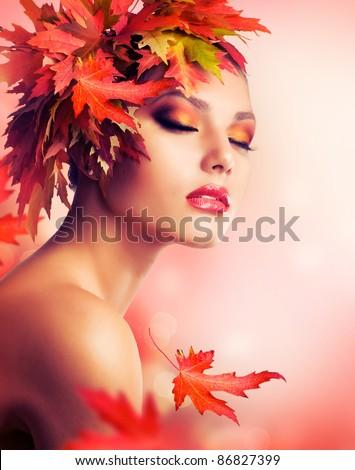 Autumn Beauty Fashion Portrait - stock photo
