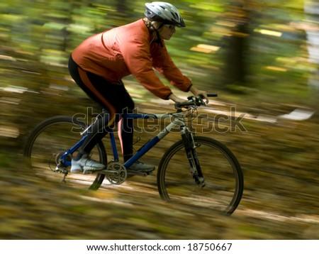 Autumn bike riding - stock photo
