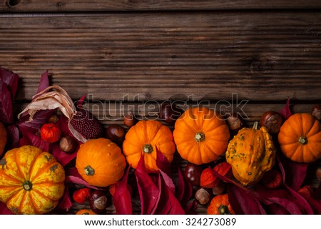 Autumn border with pumpkins and copy space for Thanksgiving and Halloween - stock photo