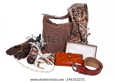 Autumn brown accessories for women on a white background - stock photo