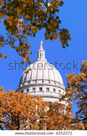 Autumn , Capitol Dome, Madison, Wisconsin - stock photo