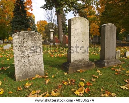 autumn cemetery - stock photo