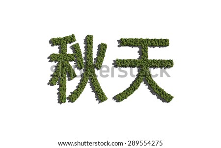 Autumn chinese text tree with white background concept of typography - stock photo