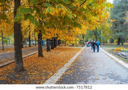 autumn city park avenue with walking people - stock photo