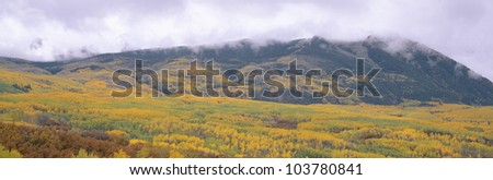 Autumn clouds at Kebler Pass, Gunnison National Forest, Colorado - stock photo