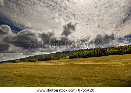 Autumn cloudscape over a North Rim meadow near the entrance to Grand Canyon National Park.