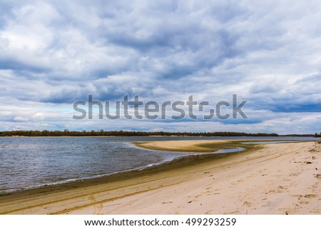 Autumn cloudy day on the Dnieper River.