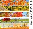 Autumn Collage with 5 different pictures banners. - stock photo