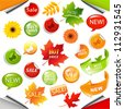 Autumn Collection Sale Elements With Leaves - stock vector