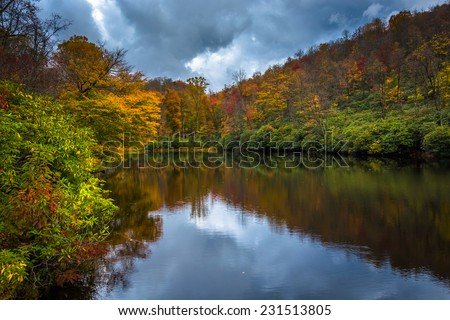 Autumn color and pond at Julian Price Park, near Blowing Rock, North Carolina.