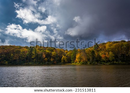 Autumn color at the Trout Lake at Moses H. Cone Park, on the Blue Ridge Parkway, North Carolina. - stock photo