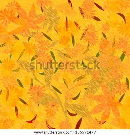 autumn color falling leaves scrapbook frame illustration  - stock photo