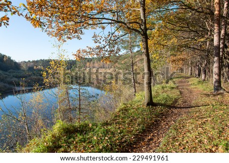 autumn colored tourism trail in the woods in the countryside - stock photo