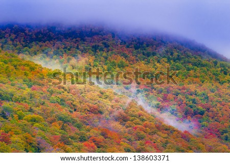 Autumn colored trees on Mt. Mansfield, Stowe, Vermont, USA - stock photo