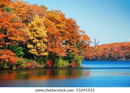 Autumn colorful foliage over lake with beautiful woods in red and yellow color. - stock photo