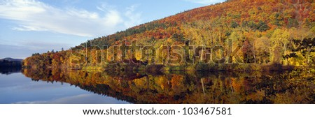 Autumn colors along Connecticut River, Brattleboro, Vermont - stock photo