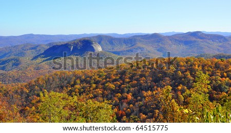 autumn colors at Looking Glass Rock in the Smoky Mountains - stock photo