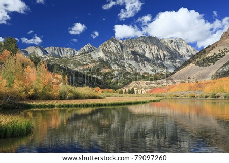 Autumn colors at North Lake in Sierra Nevada mountains of California - stock photo