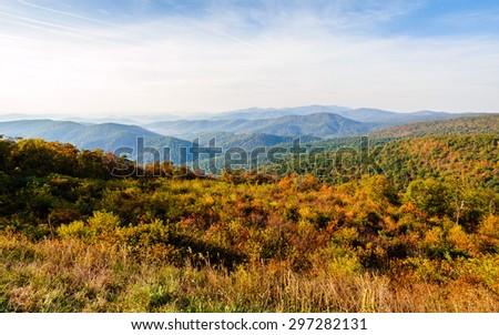Autumn Colors at Overlook at Shenandoah National Park - stock photo