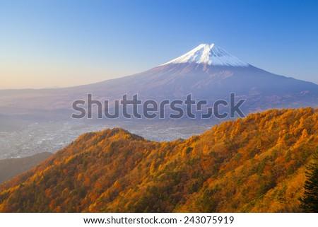 Autumn colors of Mt. Fuji, Yamanashi, Japan - stock photo