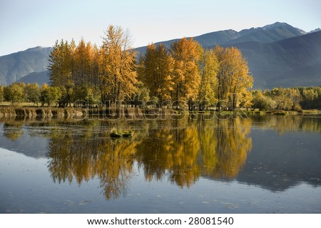 Autumn colors on a lake in British Columbia Canada