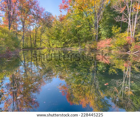 Autumn colors on Reflection Trail, Stony Creek Metropark, Shelby Township, Michigan - stock photo