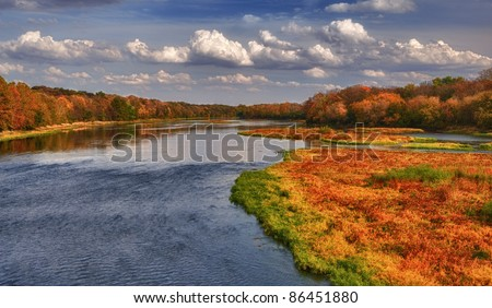 Autumn colors on the Kankakee River in Kankakee, Illinois - stock photo